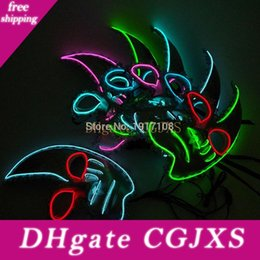 mask for face glow Australia - EL Halloween Supplies Light Up Glowing El Wire Cute Mask Fashion Women Cosplay Mask Costume For Party Mask Decoration Free Shipping