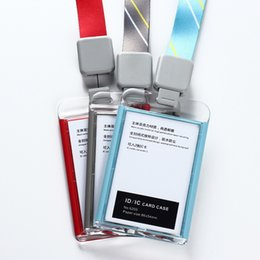 Fashion Acrylic Clear ID IC Card Case Suspension Rope Work Card Id Holder Badge Reel Lanyard Badge For Pass Porta Credenciales