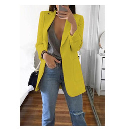 blue blazers Australia - Long Blazers Women Ladies Femme Mujer Dames Casual Office White Black Blue Red Yellow Pink Orange Plus Size Oversized Blazer
