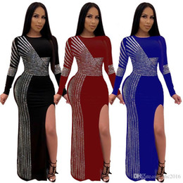 united pipe NZ - New Crew Neck Split Dress Europe And The United States Women's Wind Rhinestone Clothing Sexy Printed Long Stripes Solid Color Club Dres