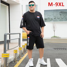 mens shorts 7xl Australia - Summer Shorts White Red Tracksuit Men Tee Shirt Homme Plus Size 6XL 7XL 8XL 9XL Mens Clothing 2 Two Piece Set Boys Sets Clothes CX200730