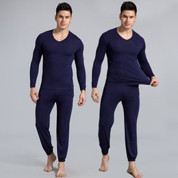 Wholesale shirt sleeve pins for sale – custom Simple men s pajamas modier cotton thin set home clothes home clothes set loose large size long sleeve pin feet trousers