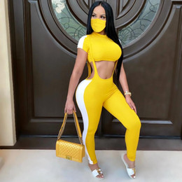 Wholesale hot women out t shirt for sale – custom 2020 Sexy Women Set Tracksuit Short Sleeve T shirt Ctop Tops Striped Strap Overalls Jumpsuit Summer Hot Hollow Out Suit