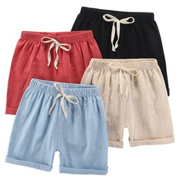 hot pants korean style summer Canada - Children's shorts summer Korean style casual cotton and linen girls' five-point hot boys' beach pants outer