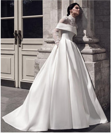 african wedding pictures UK - Saudi Arabia African Illusion A Line Wedding Dresses High Neck Long Sleeves Lace Appliques Satin Plus Size Bridal Gown robes de mariée