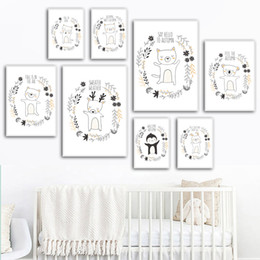 Wholesale Elk Rabbit Cat Fox Pig Koala Bear Baby Wall Art Canvas Painting Nordic Posters And Prints Animals Wall Pictures Kids Room Decor
