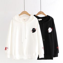 cartoon demons UK - New cartoon Top pullover demon style embroidery student hooded top pullover sweater female g3247