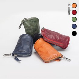 leather change purse men UK - 2020 new personalized washable key bag coin purse wallet coin purse vegetable tanning leather casual handmade small change bag