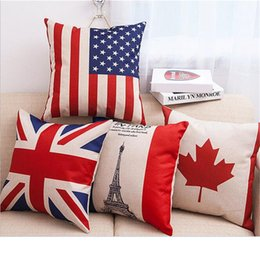 living room chairs home UK - Modern Simple Flag Decorative Pillow Case Chair Waist Square 45x45cm Cotton Linen Pillow Cover Home Textile Living Room