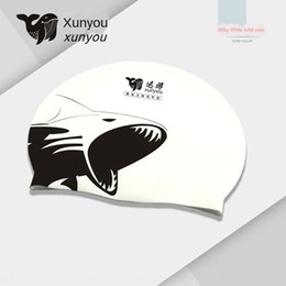 shark swim Australia - adult silicone printed Silicone waterproof non-slip swimming cap shark swimming cap