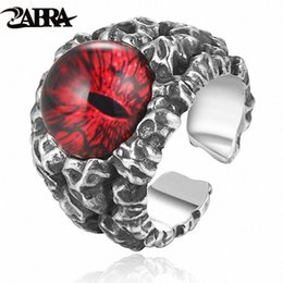 vintage gothic mens rings NZ - ZABRA 925 Sterling Silver Cool Ghosts Eyes 2 Colors Rose Red Yellow Stone Rings for Men Vintage Gothic Ring Punk Mens Jewelry 8nfY#