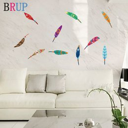 decorative plumes UK - 10 Pieces Colorful Feather Wall Stickers Art Plumage Wall Decorations Living Room Bright Plume Decorative Vinyls for Kids Room