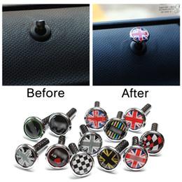 Wholesale cooper alloys online – design 2pcs carbon fiber zinc alloy Door Lock Pin For Mini Cooper S One JCW Clubman Countryman R53 R55 R56 R57 R58 R59 R60 R61 F56 F57