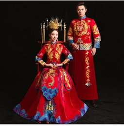 traditional chinese dresses evening Australia - Couple Red Evening Gown Wedding Dress Chinese Traditional Bride Clothing Pratensis Style Female Gown Slim Cheongsam Robe