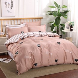 light purple duvet UK - Maiyi Home Textile Bedding Wholesale Imitation Cotton Cotton Four-Piece Set AB Version Sanding Bedding Set a Generation of Hair Duvet Cover