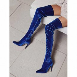 zipper over knee boots UK - Royal Blue Suede Thigh High Stilettos Boots Pointed Toe Side Zipper Gladiator Over Knee Boots Fashion Party Dress Shoes Women 7Soi#