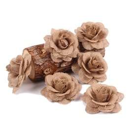 vintage rose hair accessory NZ - Stimulation Flowers Hand-Woven Burlap Rose Decor Hair Accessories Hand Made Linen Cloth Vintage DIY Gift Wrap Wedding Favors