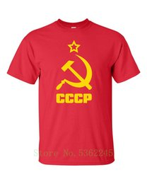 hammer sickle NZ - Cccp Ussr Hammer &Amp; Sickle Flag Kgb Soviet Union Russia Men's Tee Shirt Casual Cool Pride T Shirt Men Fashion New Unisex