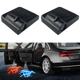 door projector lights for cars UK - 1pcs Wireless LED Car Door Welcome Light for all car models Blue Horse or Red Horse Logo Laser Projector Ghost Shadow Lights