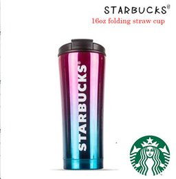 starbucks cup steel Australia - 2019 Starbucks folding straw cup high-grade 304 double-layer vacuum stainless steel Starbucks coffee cup gradient milk cup mug