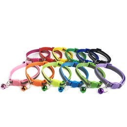 easy pet supplies UK - Wholesale 100Pcs Adjustable Reflective Collars With Bell Buckle Easy Wear Puppy Dog Cat Collar Accessories Pet Supplies CX200723