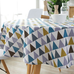 print tablecloths wholesale Australia - 100 120 150cm Round Tablecloth Europe Style Cotton Linen Table Cloth Triangle Geometric Print Dining Table Cloth Customizable DBC BH3259