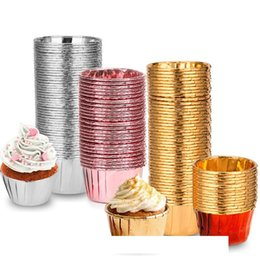 foil baking Canada - Aluminum Foil Cupcake Hemming Cup Baking Resistance Health Cupcakes Paper Cups Holder Safe 0 Bake Ware Pure Color 14tm C2