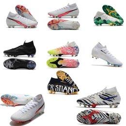 ramponi originali scarpe da calcio CR7 13 Elite 360 Mercurial Superfly V FG Scarpe da calcio C. Ronaldo 7 Nuovo bianco confezione Mens di calcio dei morsetti in Offerta