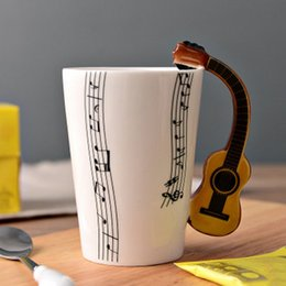 office milk supplies Australia - Ceramic Cup Personality Milk Juice Lemon Musical Instrument Shaped Handle Mug Coffee Tea Cup Home Office Drinkware Supplies T200506