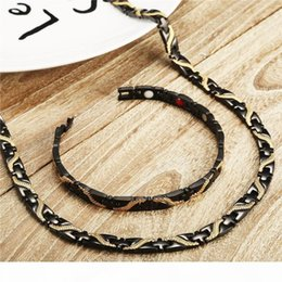 ions bracelets NZ - Mens Dragon Magnetic Necklaces Bracelets Sets in Black Stainless Steel Health Energy Magnetic Ion Germanium Jewelry Set Wholesale