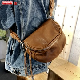 Discount motorcycle shoulder canvas bags Women Bag Leather Handbags Shoulder Messenger Bag Female Tide Small Bags Retro ~ New Tassel Soft Leather Motorcycle Bags