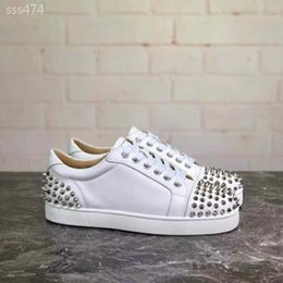 high quality women casual sneaker Australia - High Quality Women Studded Spikes Shoe Casual Shoes Fashion Red Bottoms Studded Spikes Fashion Low Top Sneaker Red Leather Size35-40 Type3
