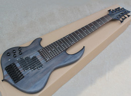 left handed basses NZ - Left-handed Matte Black 8 Strings Neck-thru-body Electric Bass with Rosewood Fretboard,24 Frets,Black Hardware,Can be Customized