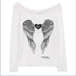 hot back blouse UK - 2020 Hot Blouses Women Angel Wings Back Printing Long Sleeve Loose Prints Shirt Floral Casual Lace Off Shoulder Top Blouse Cotton Shein