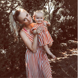 striped dress for girls NZ - Mommy and Me striped Kids Dresses for Girls Mother Daughter Equipment Dress Summer Family Matching Clothes Outfits