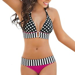 Wholesale hot pink push up bikini online – New Arrival Stripe Bikini Women Push Up Padded Swimwear Fashion Bandage Suit Beach Swimwear Beachwear Hot Pink