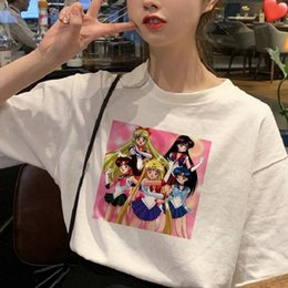 t shirt woman korea Australia - Summer Women Korea Harajuku Petal Sleeve Cute Sailor Moon Print Short Sleeve T Shirt Fashion Fun Loose Turtleneck O Neck Casual Women