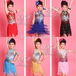 Wholesale fringe dress ballroom for sale - Group buy New Arrival Girls Kids Fashion Show Dresses Sequin Franja Roupa Fringe Dance Costumes Latina Salsa Clothes Latin Ballroom Dress