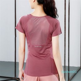 black gauze t shirt Australia - 2020 Women Yoga Tops Seamless Sports T-Shirts Fitness Wear Mesh Gauze Yoga Shirts Gym Tops Running Active Wear Sports l01
