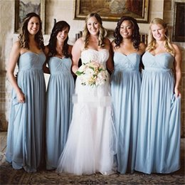 plus size evening dresses for weddings Australia - Light Blue Chiffon Bridesmaid Dresses A Line Sweetheart Ruched Pleats Plus Size Maid of Honor Gown for Beach Wedding Evening Guest Dress