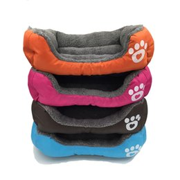 cute pet beds Australia - Candy Color Footprint Pet Supplies Square Shape Dog Pads Cute Warm Plush Creative Convenient Mould Proof Bed 39cn jj