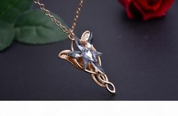 lord rings charms Australia - R Lord Of The Rings Lord Of The Rings Elves Dusk Necklace Twilight Star Male Ladies Pendant Wfn419 (With Chain )Mix Order 20 Pieces A L