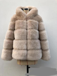 Wholesale silver fox fur coat jacket resale online - High Quality Women Long Coats and Jackets Winter Luxury Faux Fur Coat Hooded Warm Thick Solid Color Fur Coats Jackets Womens