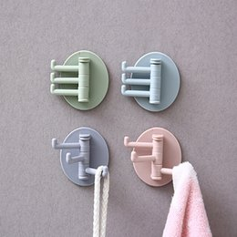 hook pegs NZ - 5-color Adhesive Wall Hooks Seamless Paste 3 Branches Rotating Hook Bathroom Kitchen Peg Board Wall Hooks