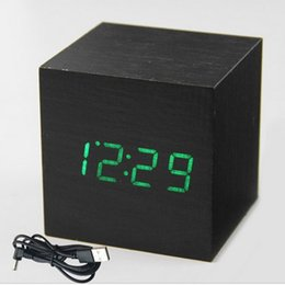 antique table desk Canada - Cube Digital Wooden Clock LED Desk Table Alarm Clock Sound Control Temperature Electronic Display Snooze Function Desk Tools