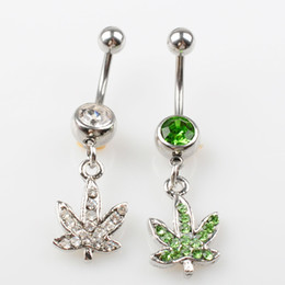 Wholesale D0390 ( 2 colors ) Stainless steel Body Piercing Jewelry Belly Button Navel Rings Dangle Charm Maple Leaf SS 10PCS