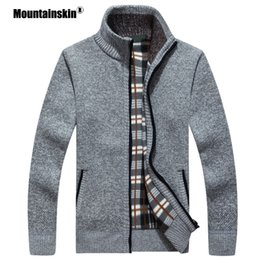 mens wool long coat green UK - Mountainskin New Men's Sweaters Autumn Winter Warm Pullover Thick Cardigan Coats Mens Brand Clothing Male Casual Knitwear SA582 MX200711