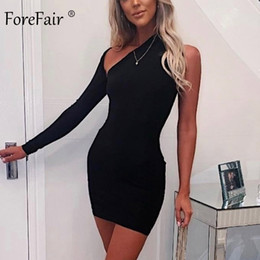 Forefair una spalla sexy Vestito aderente Autunno Inverno 2020 Backless partito del mini da sera grigio Red Black Women Dress Club Bianco