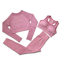 Wholesale womens pullover shirts online – oversize fashion Designer Womens Cotton Yoga Suit Gymshark Sportwear Tracksuits Fitness Sport three Piece set pants bra t shirts Leggings outfits