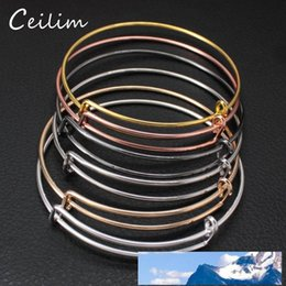 wire adjustable bangle wholesale Canada - Wholesale 10pcs lot USA Popular Fashion DIY Expandable Adjustable Bracelets Bangle For Women Men Cheap 50mm& 65mm Size Wire Bracelet Jewelry